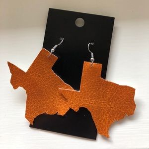 Orange Texas Leather Earrings - Handmade